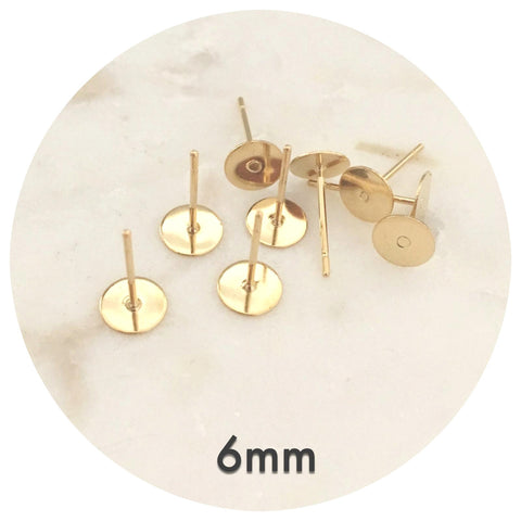 6mm Gold Stainless Steel Earring Stud Posts - 50/100pack