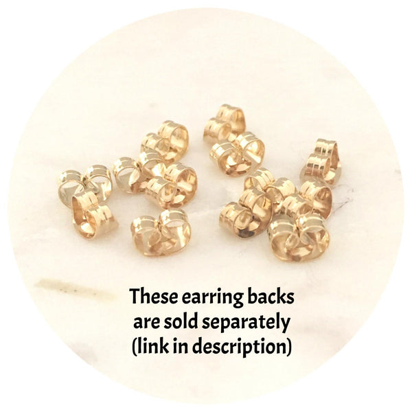 8mm Gold Stainless Steel Earring Stud Posts - 50/100pack