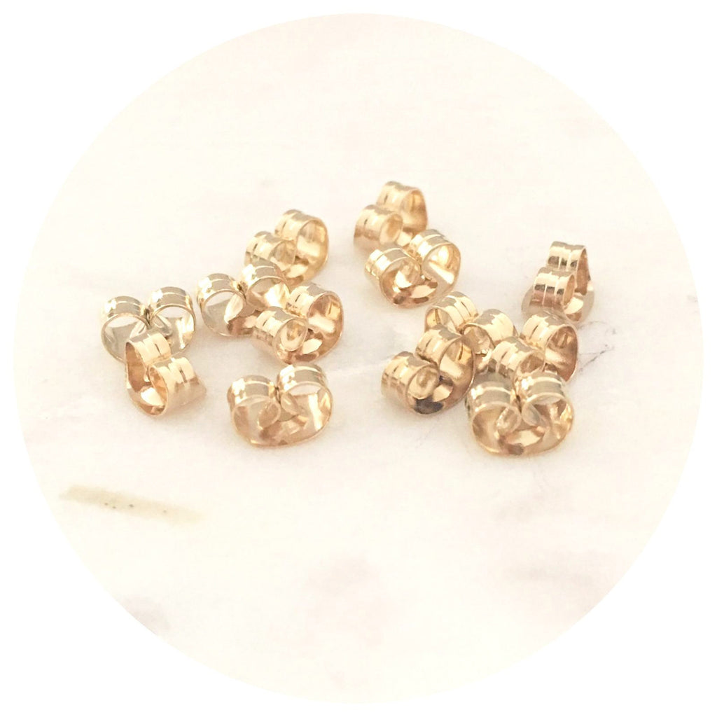 Gold Stainless Steel Earring Posts Butterfly Backs Ear Nuts - 100pack