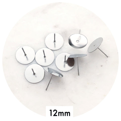 12mm Surgical Steel Earring Stud Posts - 50/100pack