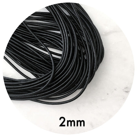 Genuine Waxed Leather Cord - Black - 2mm