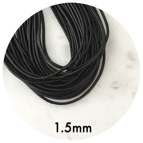 Genuine Waxed Leather Cord - Black - 1.5mm