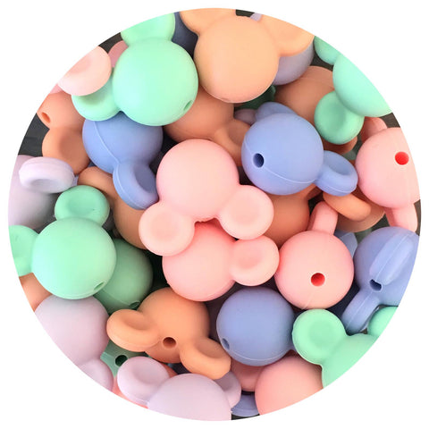 Pastel Mix - Mouse Head - Powder Blue, Mint Green, Lilac, Candy Pink, Peach - 25pack