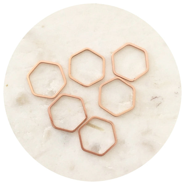 16mm Open Hexagon Connector - Rose Gold - 2pk