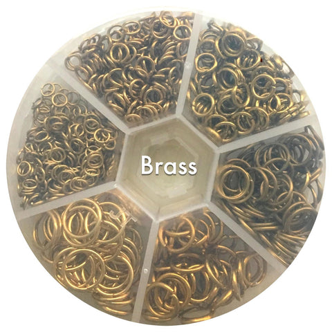 Mixed Pack Jump Rings - Raw Brass - 4mm, 5mm, 6mm, 8mm, 9mm, 10mm