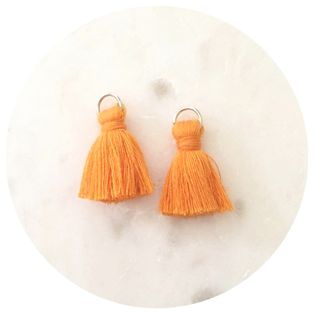 20mm Mini Cotton Tassels - Tangerine Orange - 2pack - L4606