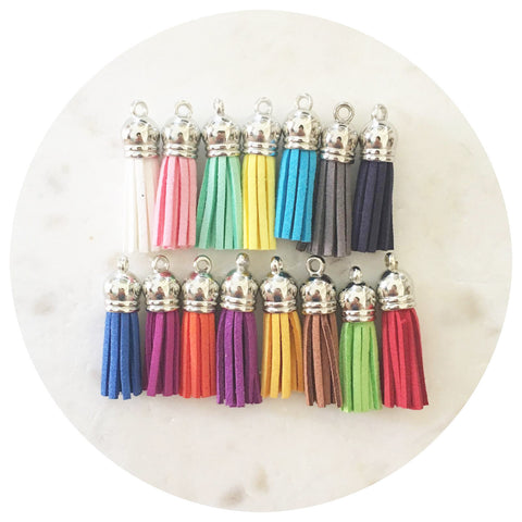 39mm Suede Tassels Silver Cap - Mixed Colours - 15pack