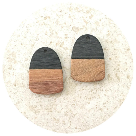 28mm Half Black Oblong Pendant - Wood - 2pk
