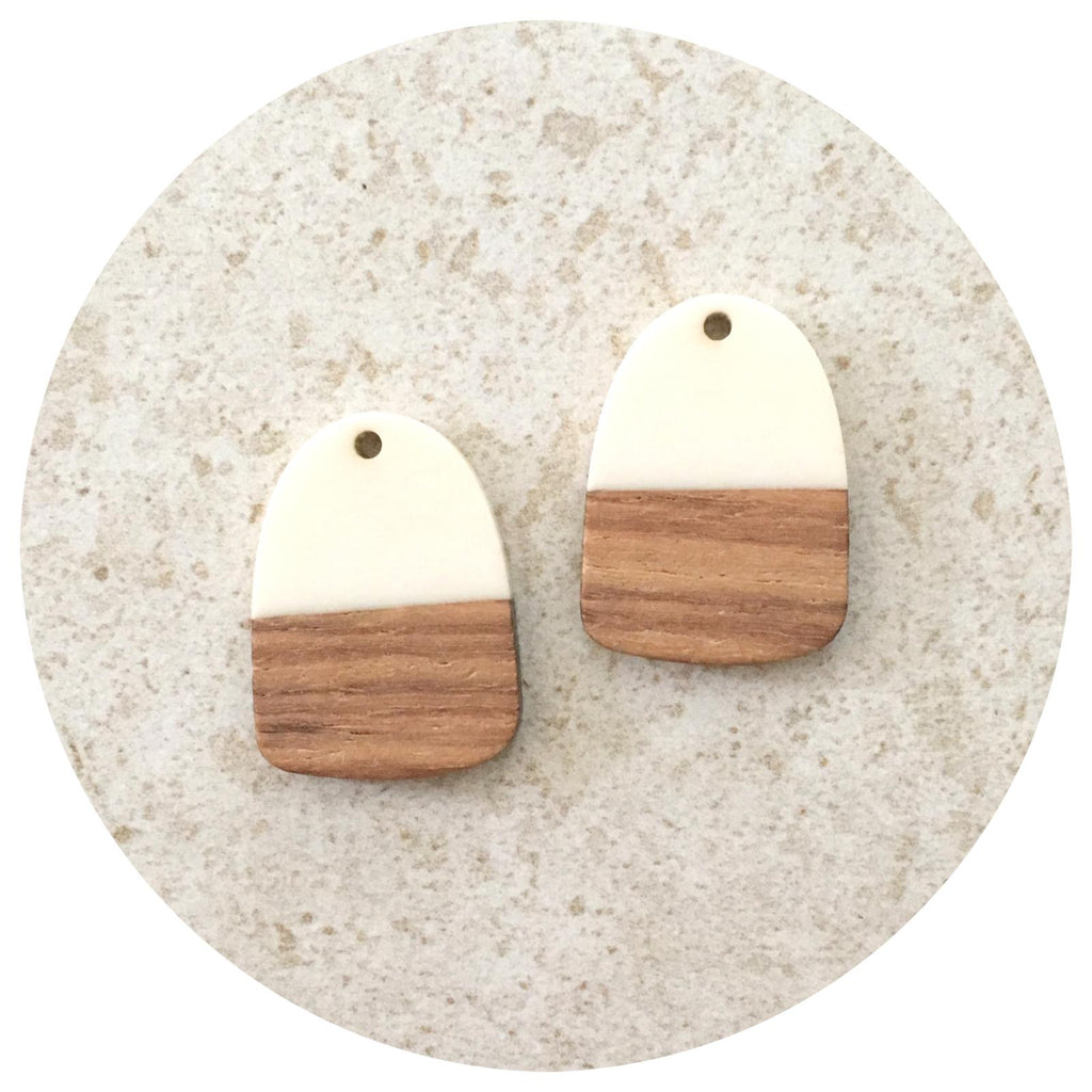 28mm Half Ivory Oblong Pendant - Acrylic & Wood - 2pk - M18911