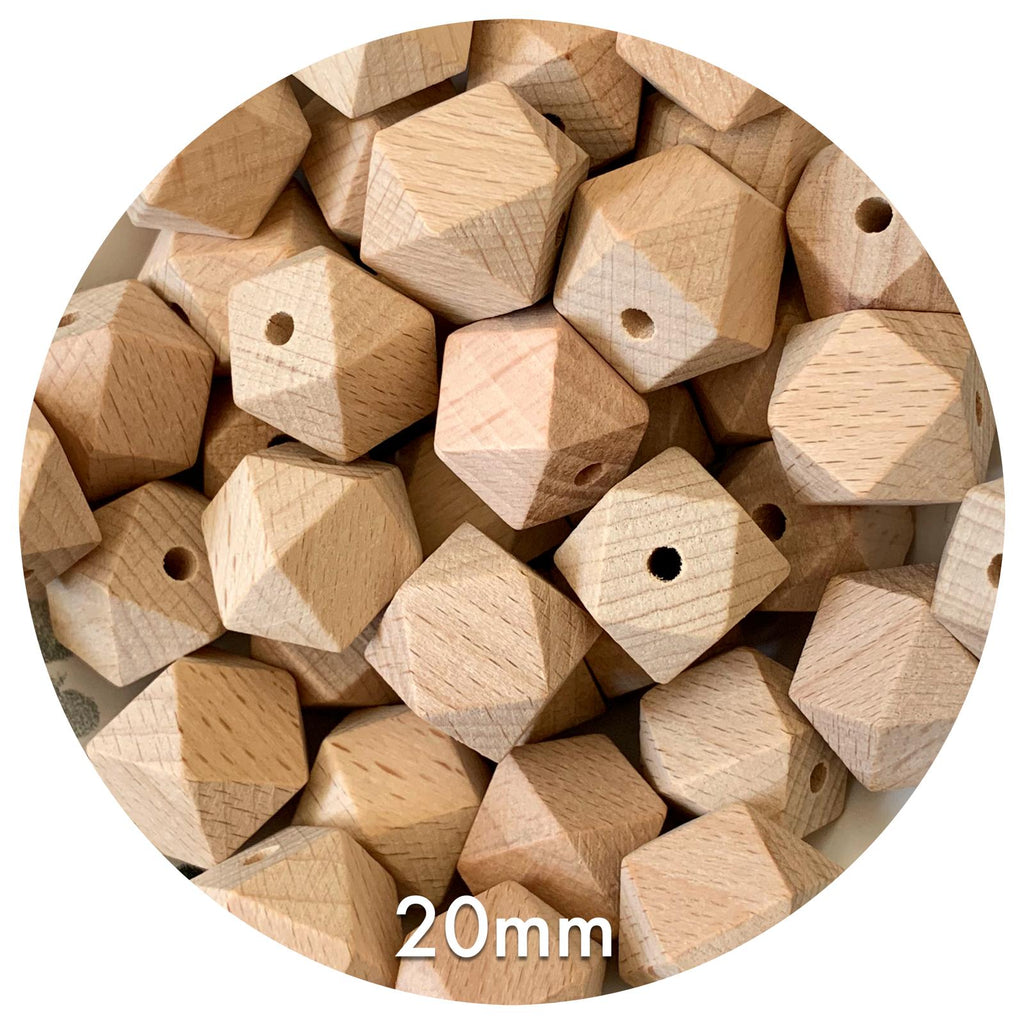 Beech Wood Hexagon Beads - 20mm - 10/30/50pack