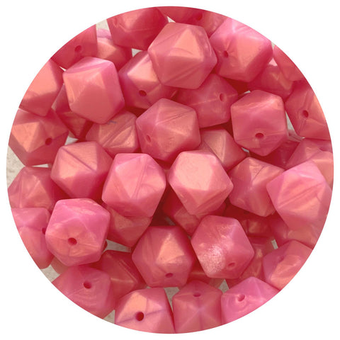 Pearl Rose Shimmer - 14mm Mini Hexagon - 10/25pack