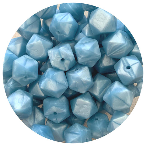 Pearl Blue - 14mm Mini Hexagon - 10/25pack