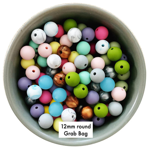 Silicone Beads Bulk Grab Bag - 12mm round - 100 beads