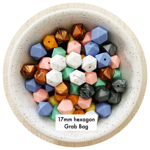 Silicone Beads Bulk Grab Bag - 17mm hexagon - 1KG