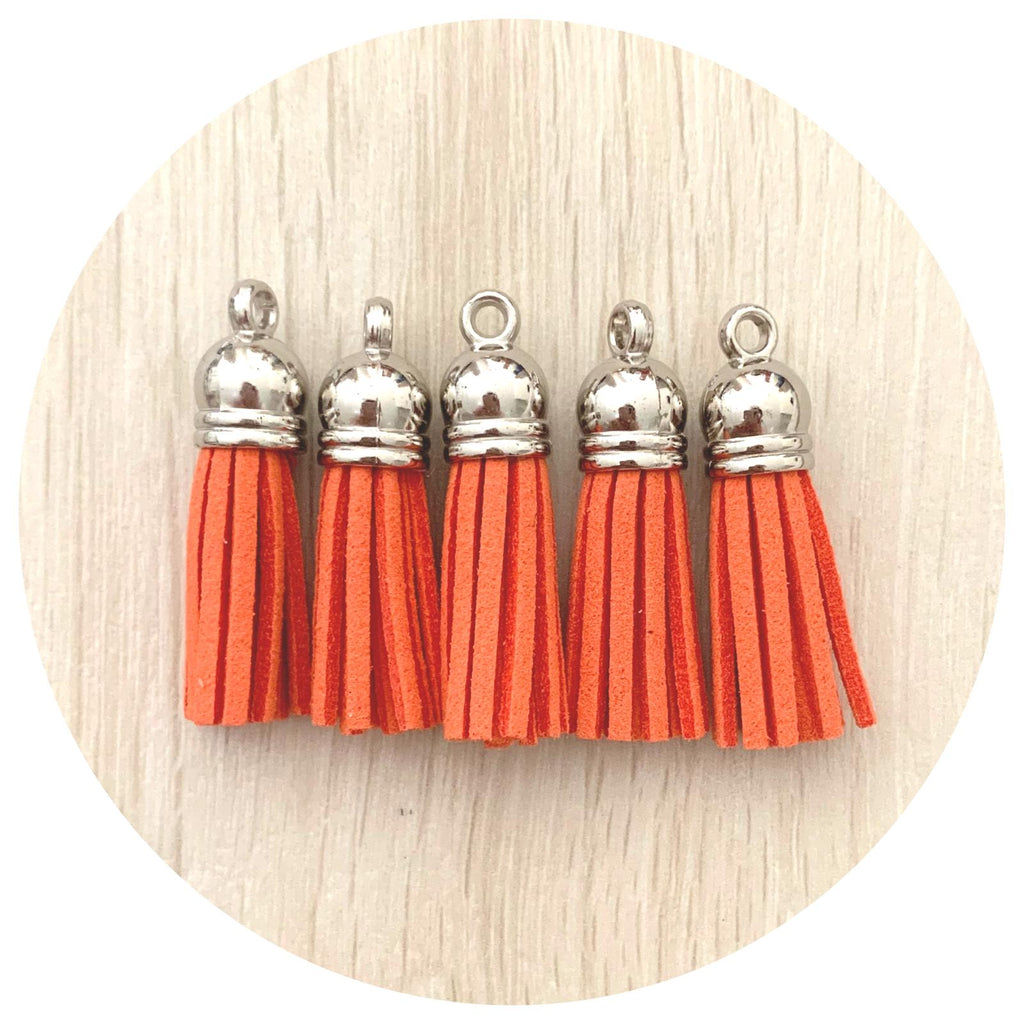39mm Suede Tassels Silver Cap - Bright Coral - 5pack