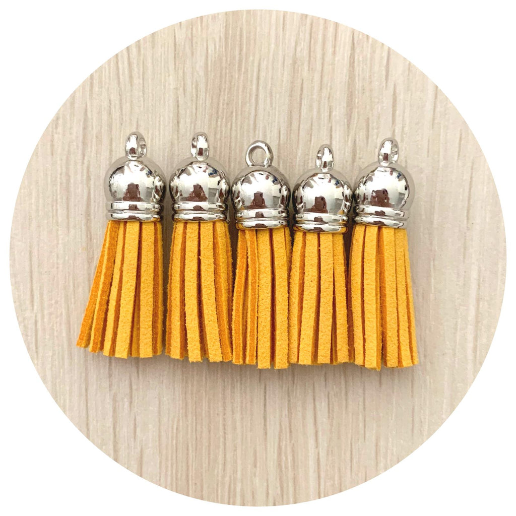 39mm Suede Tassels Silver Cap - Mustard Yellow - 5pack