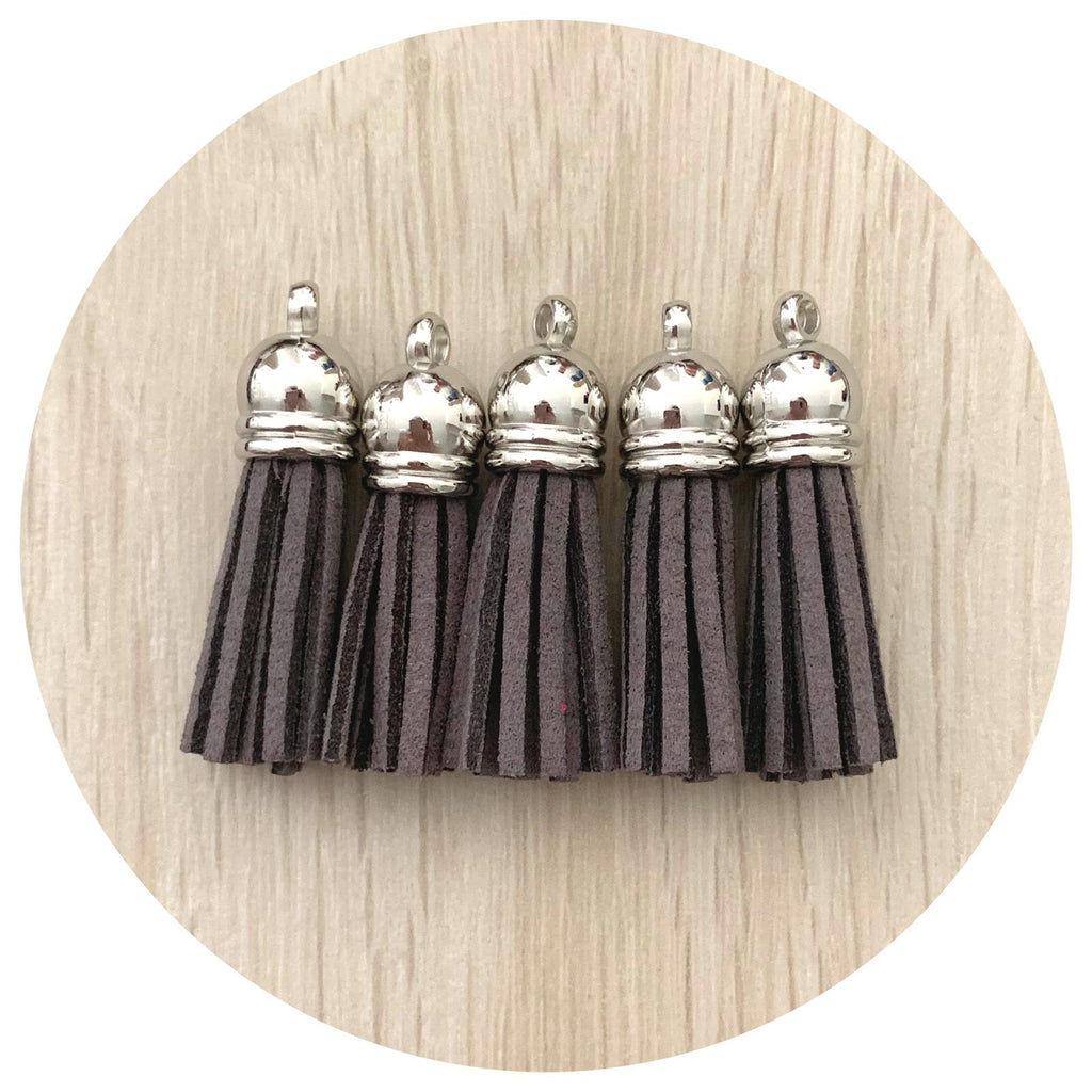 39mm Suede Tassels Silver Cap - Dark Grey - 5pack