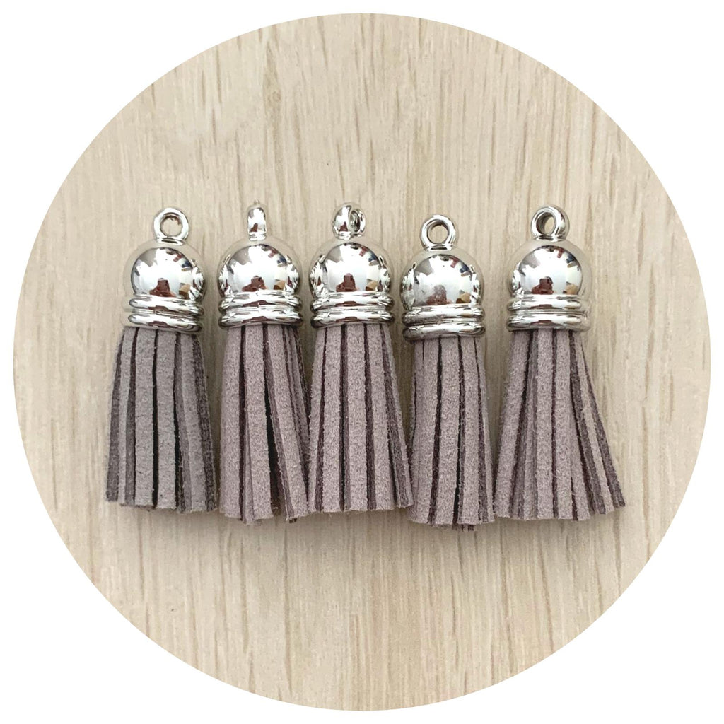 39mm Suede Tassels Silver Cap - Grey - 5pack
