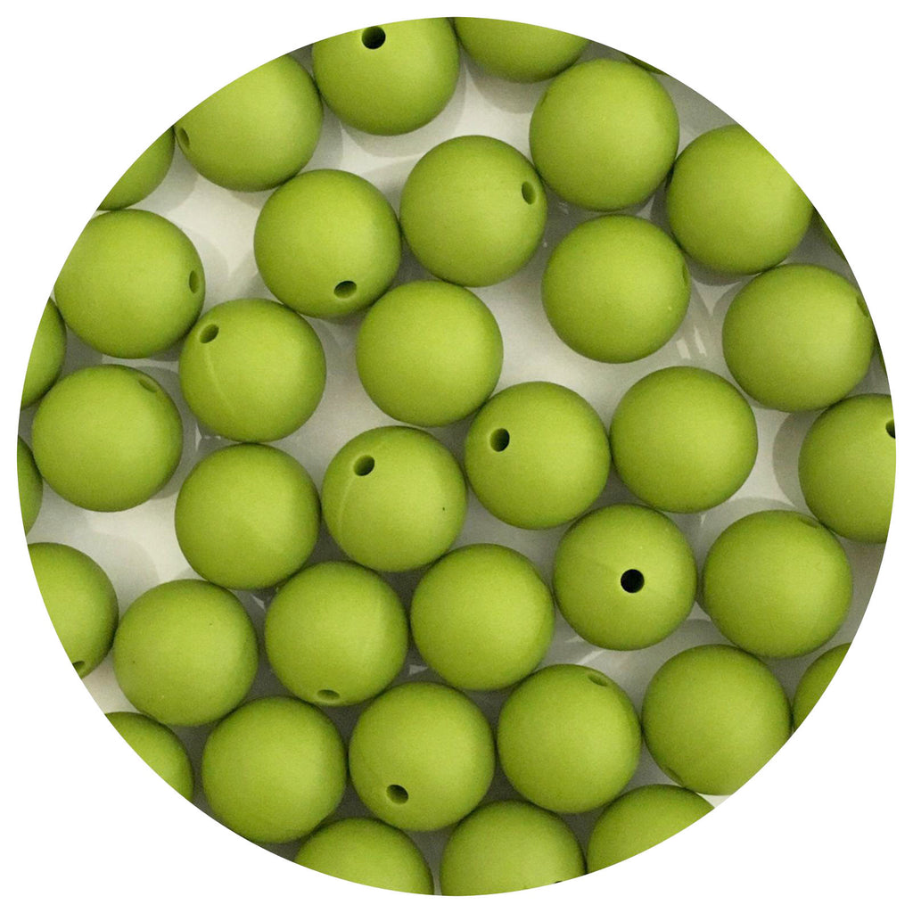 Olive Green - 15mm round - 10/25pack