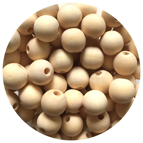 Natural Wood Beads - 15mm Round - 20/50/100pack