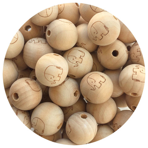 Natural Wood Engraved Round Beads (Elephant) - 20mm - 10/30/50pack