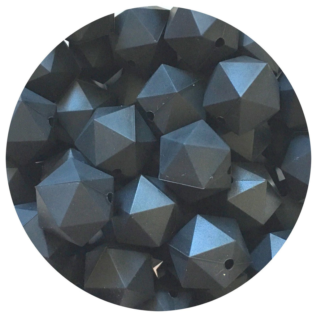 Jet Black - 17mm Icosahedron - 10/25pack