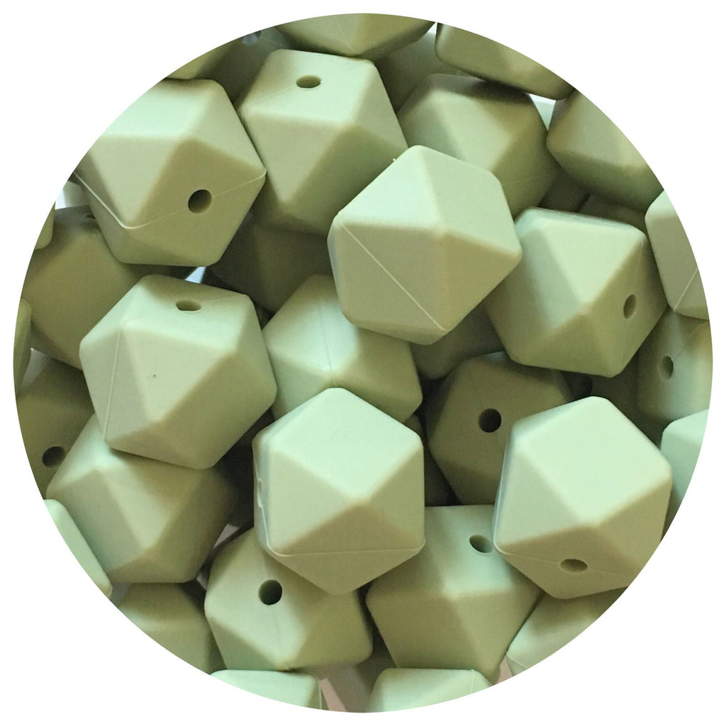 Sage Green - 17mm Hexagon - 10/25pack