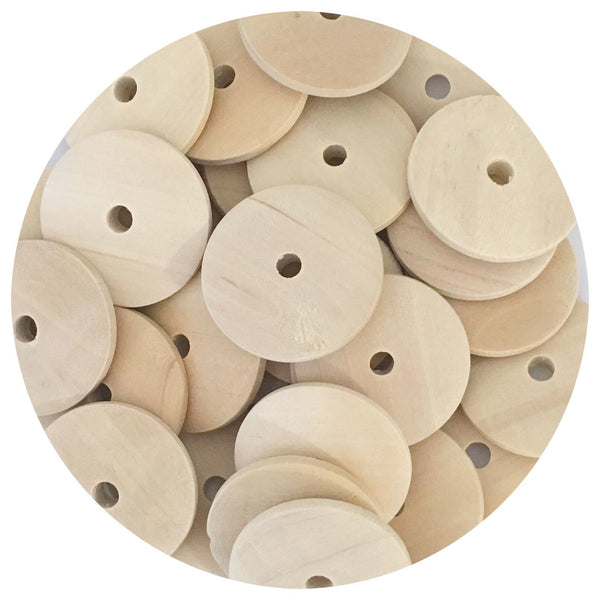 Natural Wood Flat Disc Beads - Middle Hole - 25mm - 20/50/80pack