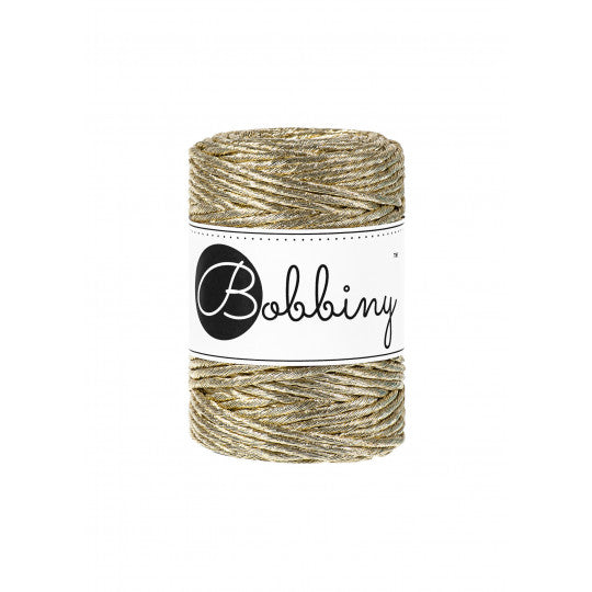 Bobbiny Single Twist Macrame Cord - 3mm - Metallic Gold