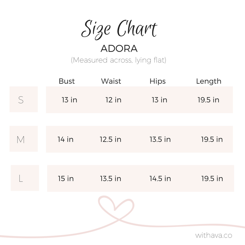 adora size chart with ava.co