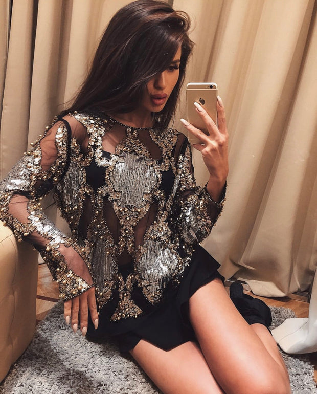 'BIANCA' SEQUIN MESH TOP