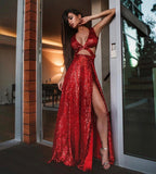 BIANCA - HIGH SPLIT RED SEQUIN DRESS