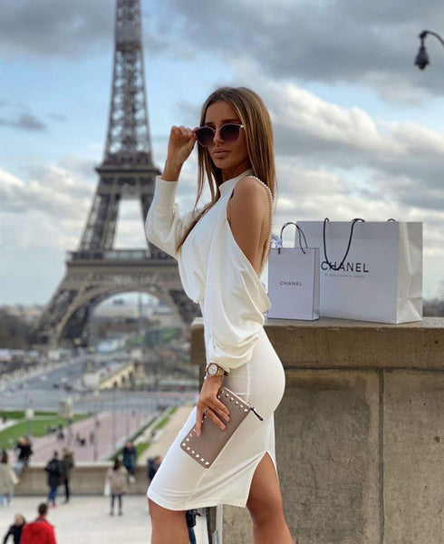 JOLIE - WHITE BACKLESS PEARL DRESS