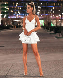 CAMILLE - WHITE BANDAGE RUFFLE DRESS