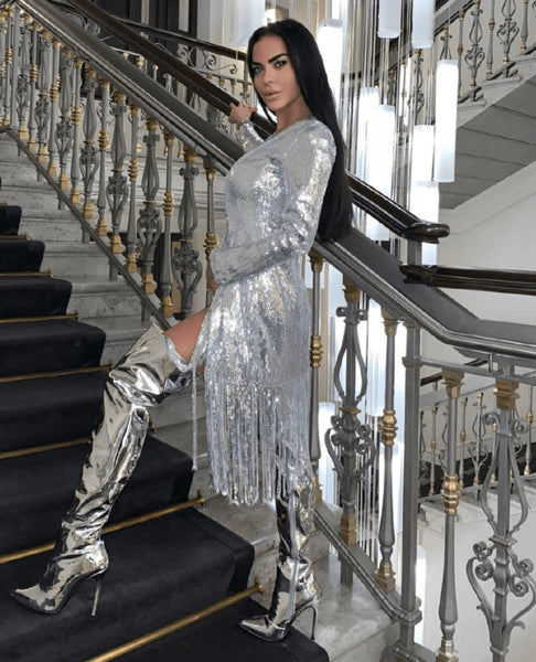 LILLY - SILVER SEQUIN COAT DRESS