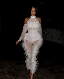 ANGELINA -  WHITE LACE FEATHER JUMPSUIT