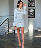 ABIGAIL - TWEED MINI WHITE DRESS