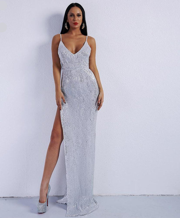 'EXTRA LUXE' SEXY SPLIT MAXI SILVER DRESS