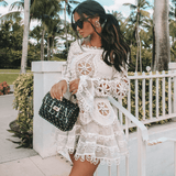 ELISE - MODERN CROCHET MINI WHITE DRESS