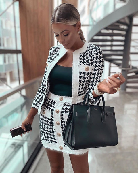 GABRIELLE - HOUNDSTOOTH SUIT SET