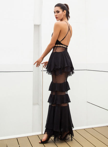 LYLA - ROMANTIC BLACK MAXI DRESS