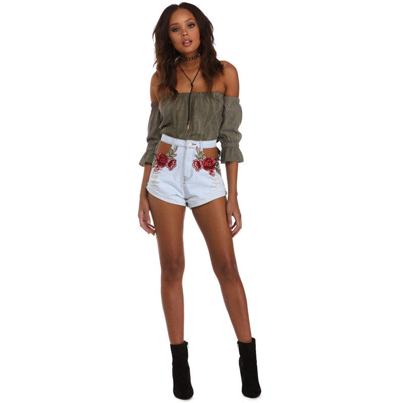 'SLAY ME RIGHT' ROSE EMBROIDERY SHORTS