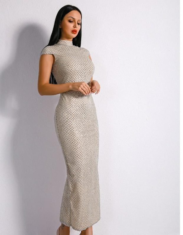 'WIFEY MATERIAL' ELEGANT SILVER GEOMETRIC DRESS