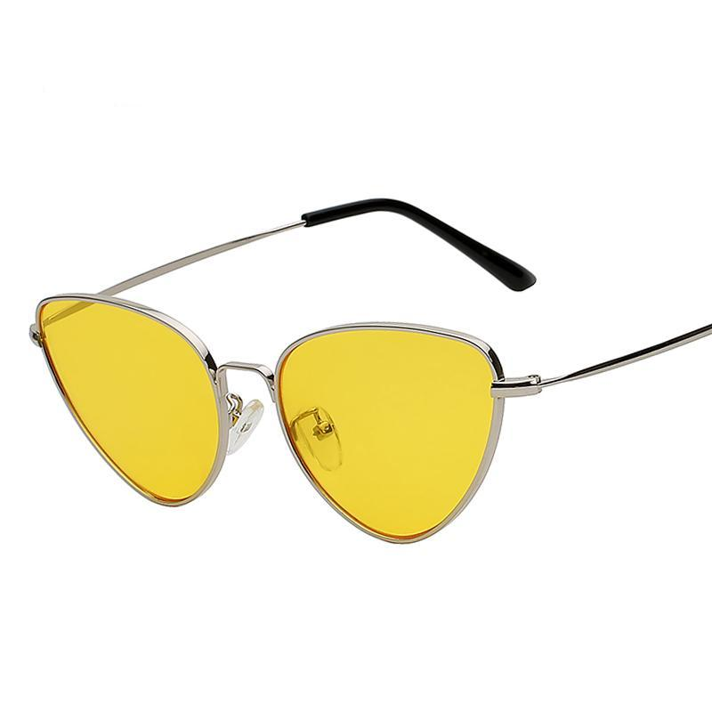 'SELENA' RETRO YELLOW CAT EYE SUNGLASSES
