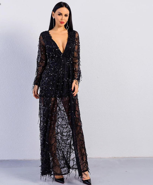 'DUBAI NIGHTS' SEXY SEQUIN MAXI DRESS