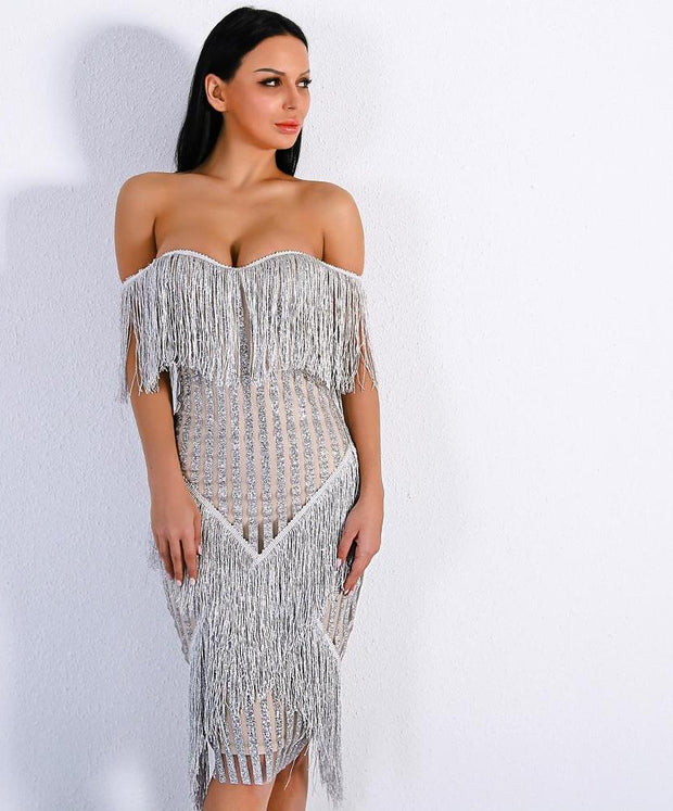'COCO CHIC' OFF THE SHOULDER SILVER DRESS