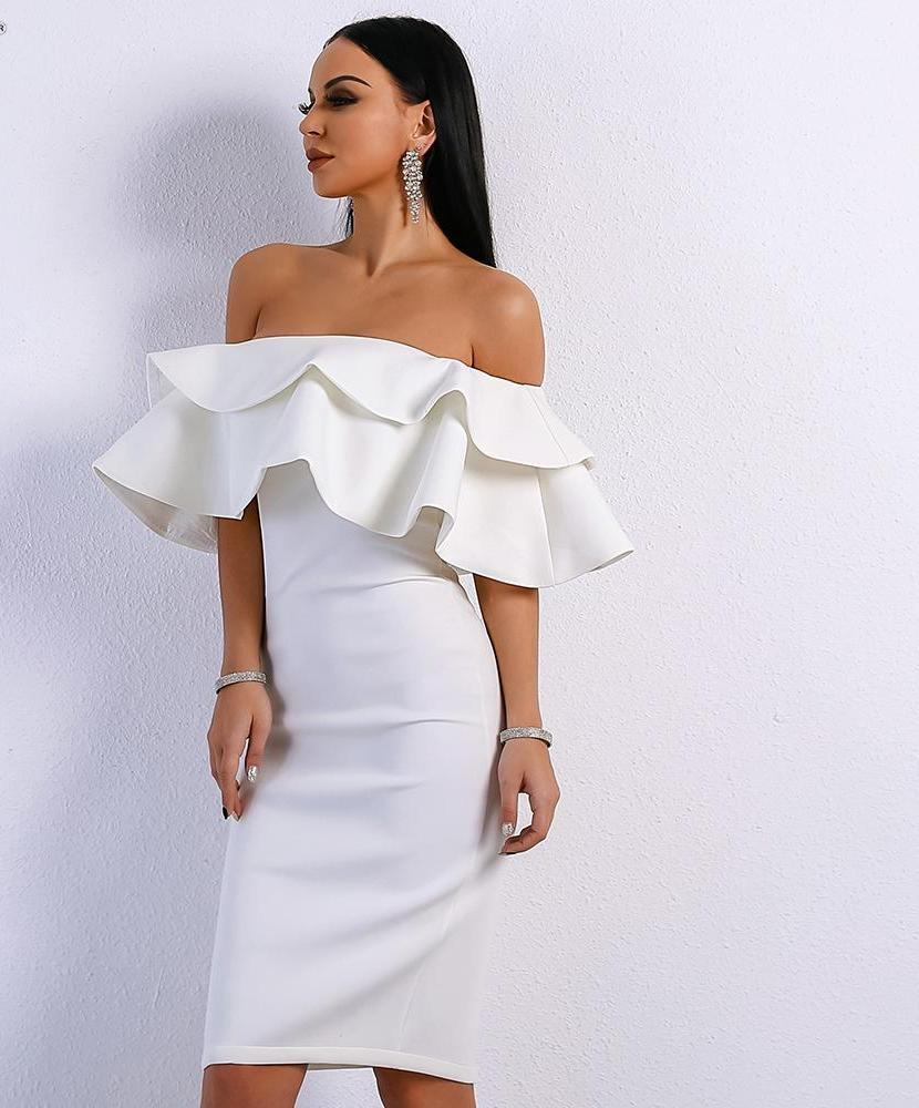 'MISS BLOOM' WHITE OFF THE SHOULDER DRESS