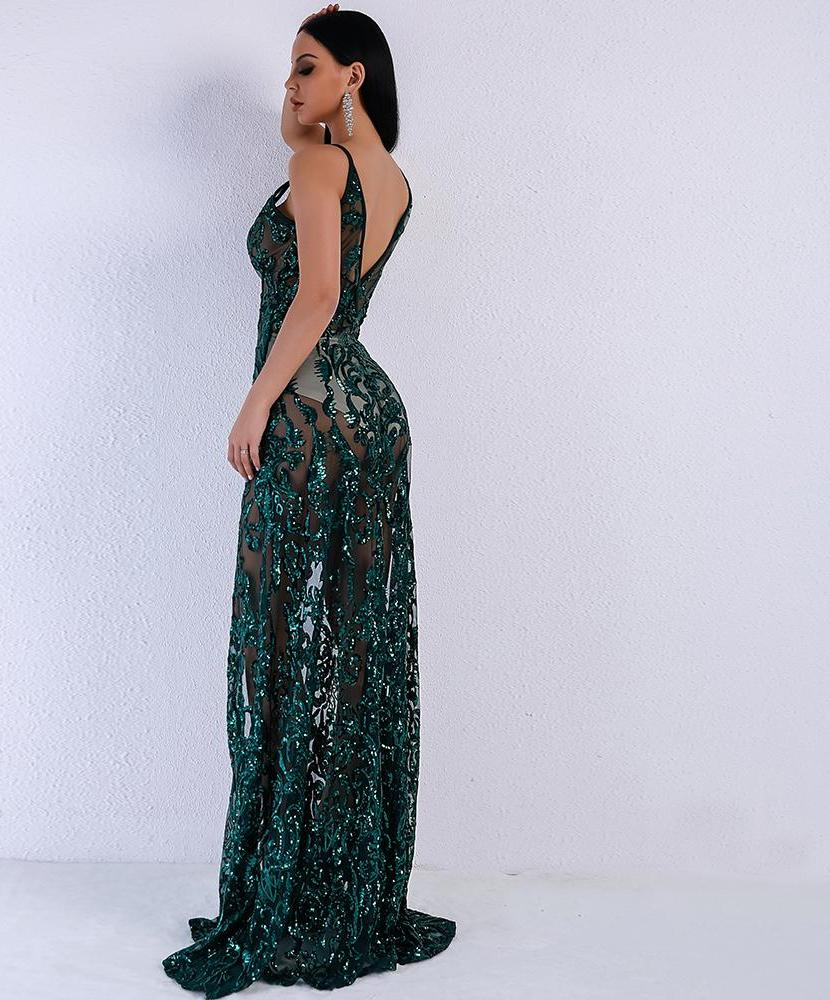 'B*TCH I'M HERE' DEEP GREEN SPARKLE MAXI DRESS