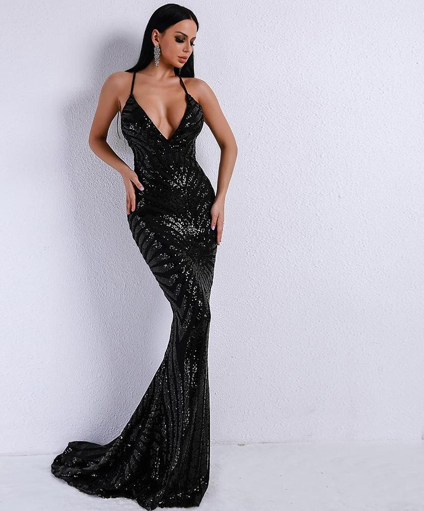 'EVENING GLAMOUR' BLACK SEQUIN MAXI DRESS (Limited Stock)