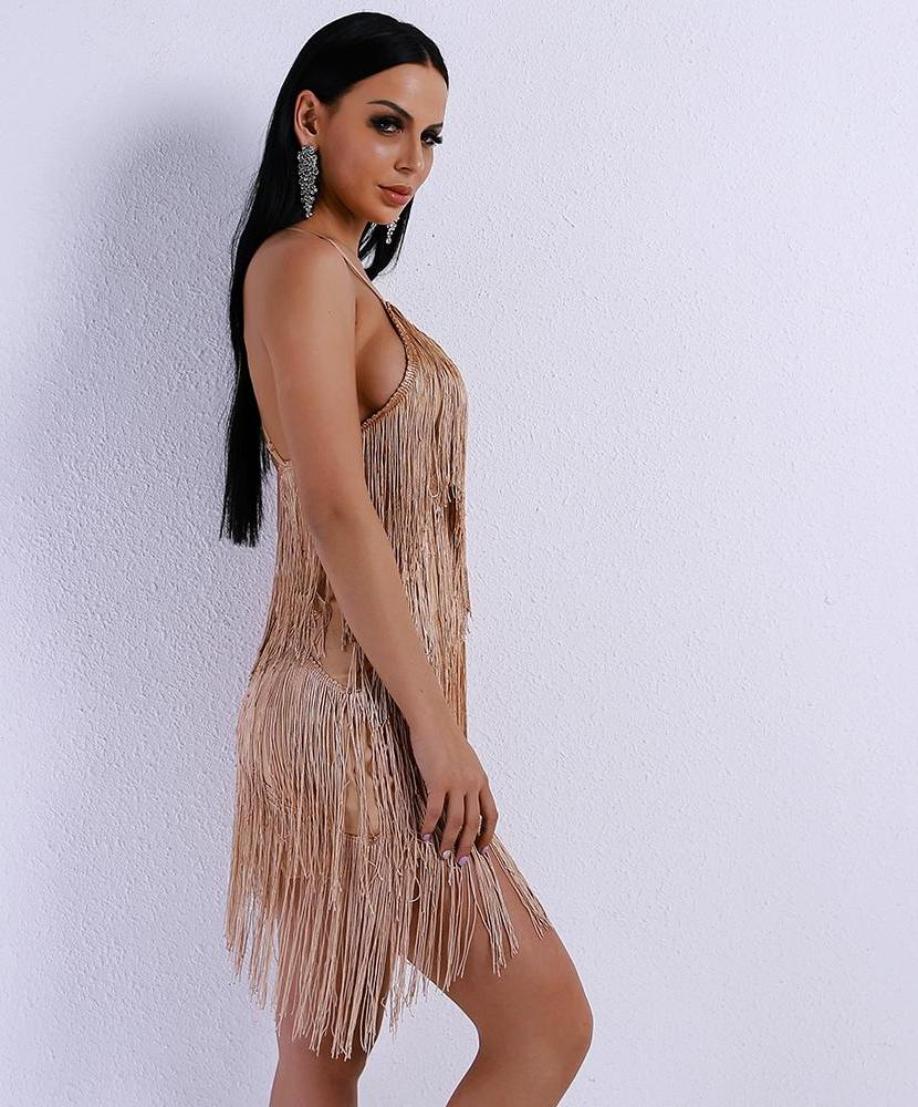 'MADEMOISELLE' CHAMPAGNE FRINGE DRESS